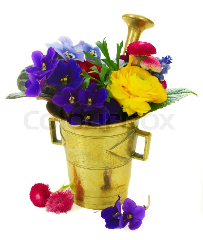 Stock image of 'Fresh flowers in vintage mortar isolated on white background'