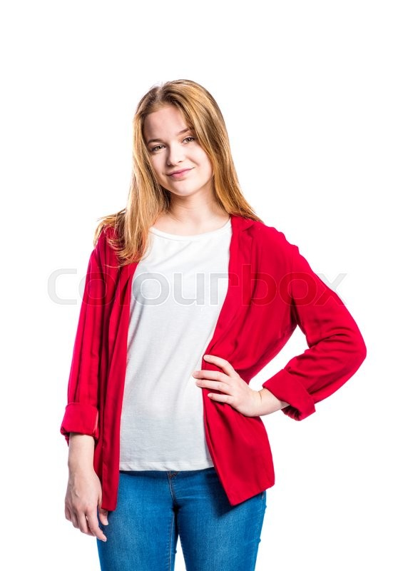 Stock image of 'Teenage girl in jeans and red jacket, young woman, studio shot on white background, isolated'