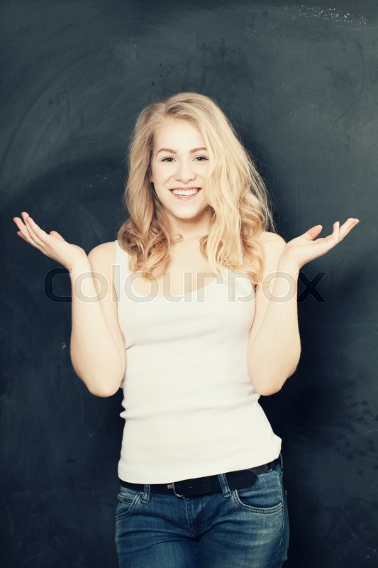 Stock image of 'Surprised woman, happy girl excited'
