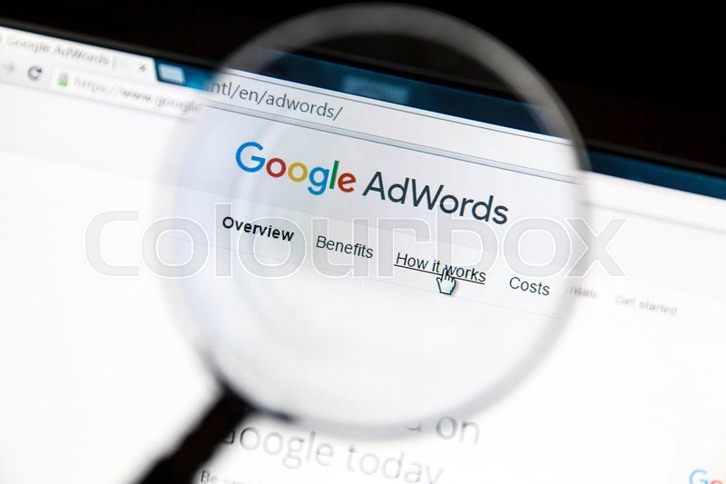 Editorial image of 'Ostersund, Sweden - May 23, 2016: Google Adwords website under a magnifying glass. Google AdWords is an online advertising service.'