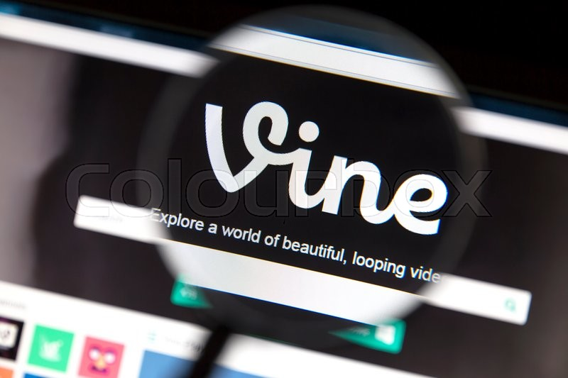 Editorial image of 'Ostersund, Sweden - May 23, 2016: Vine website under a magnifying glass. Vine is a short-form video sharing service.'
