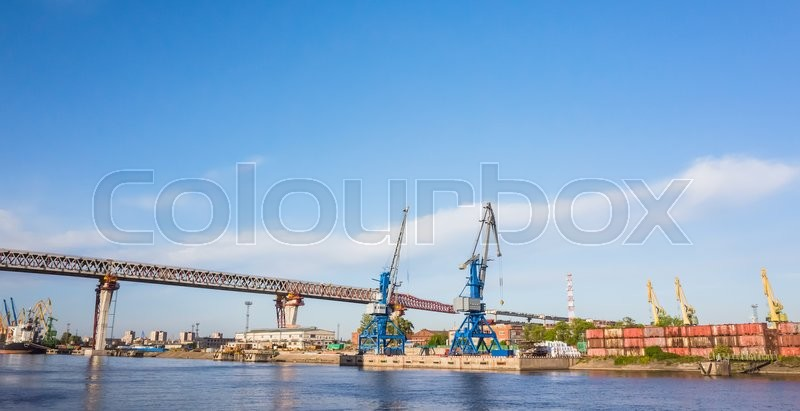 Editorial image of 'St-Petersburg, Russia - June 7, 2016: Western Rapid Diameter. Construction of the viaduct over Sea Canal on Kanonersky island'