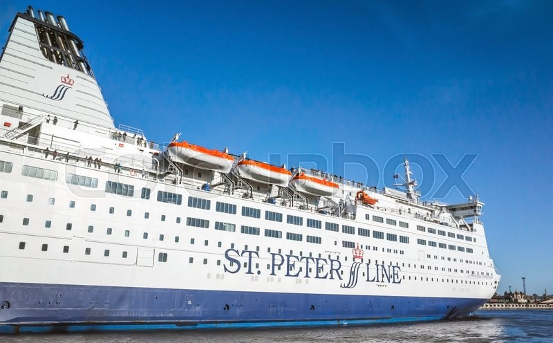 Editorial image of 'St-Petersburg, Russia - June 7, 2016: White passenger ferry passing Saint-Petersburg Sea Channel. MS SPL Princess Anastasia is a cruise ferry owned by St. Peter Line'