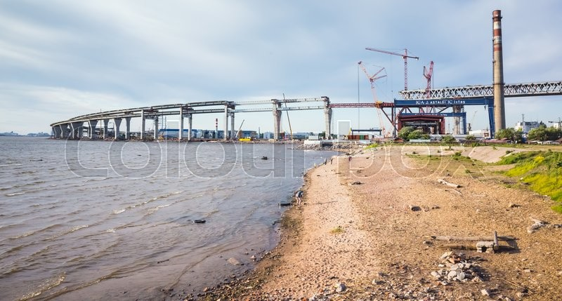 Editorial image of 'St-Petersburg, Russia - June 7, 2016: Saint-Petersburg Western High-Speed Diameter. Construction of the viaduct on Kanonersky island'