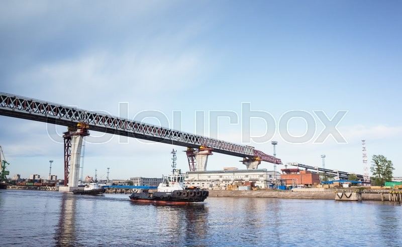 Editorial image of 'St-Petersburg, Russia - June 7, 2016: Saint-Petersburg Western High-Speed Diameter. Construction of the viaduct over Sea Canal on Kanonersky island'