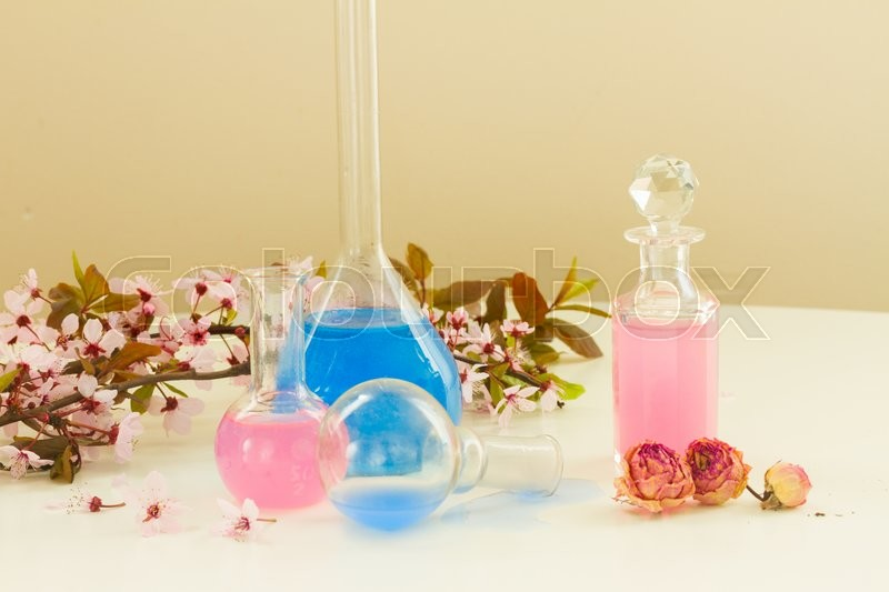 Stock image of 'Dry flowers, mortar, vials and glass bottles of tincture or oil, aromatherapy concept'