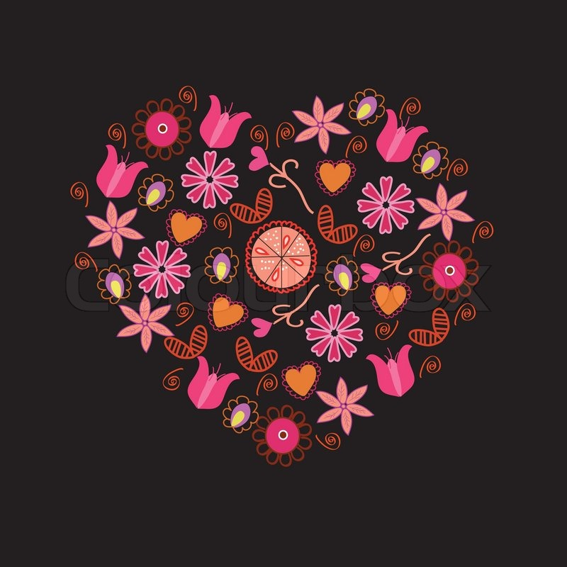 Floral Heart With Pink Flowers And Symbols On Black Stock Vector