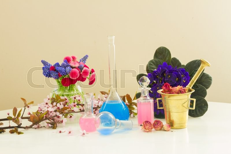 Stock image of 'Dry and fresh flowers and glass vials of tincture or oil, aromatherapy and herbal medicine concept'