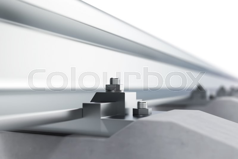Stock image of 'Railway close-up of view of the effect of depth of field. 3d illustration'