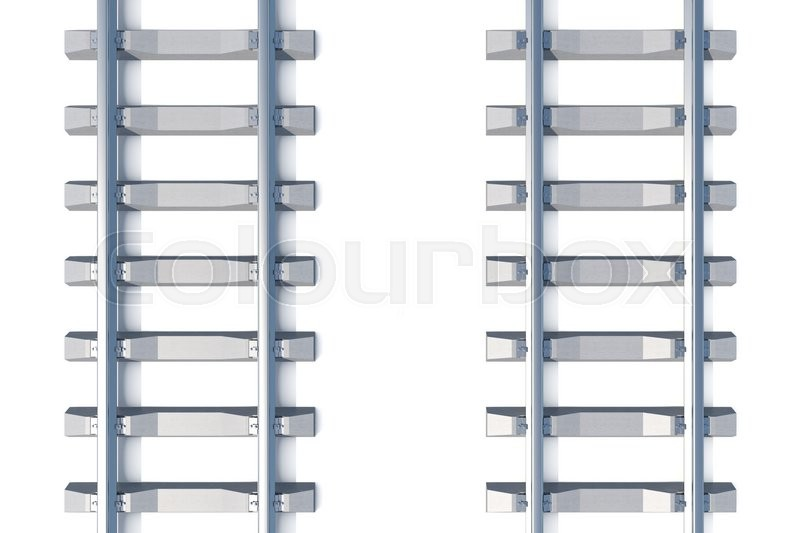Stock image of 'Railway horizontal top view on white background. 3d illustration'