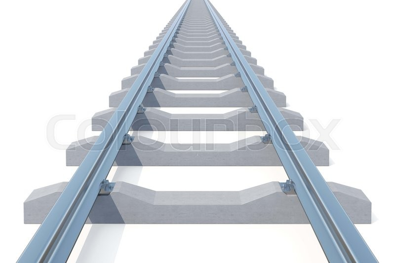 Stock image of 'Railroad going into the distance isolated on white background. Road to nowhere. 3d illustration.'
