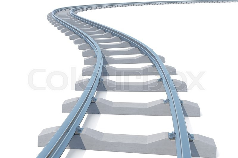 Stock image of 'Curved, bend railroad track isolated on white background. 3d illustration'