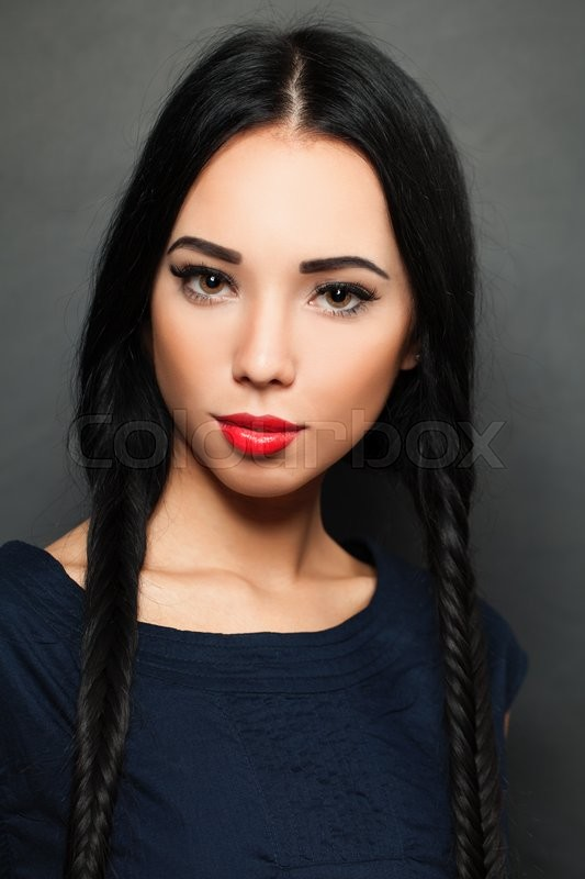 Stock image of 'Young beautiful woman fashion model with fashionable hairstyle and make-up'