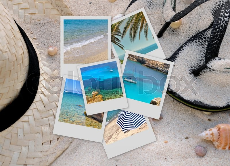 Stock image of 'pictures of sea and beach on sand background with straw hat and sandals'