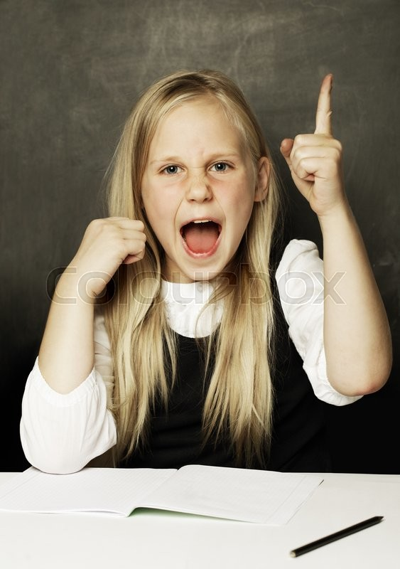 Stock image of 'Pupil in school uniform, girl with open mouth - fun!'