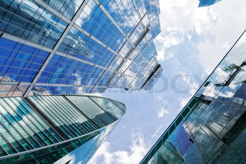 Stock image of 'view of modern skyscrapers of steel and glass and blue sky'