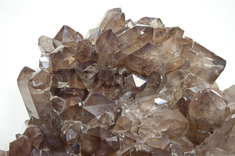 Stock image of 'Cluster of smokey quartz crystals  on white. Close up'