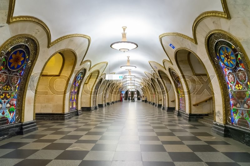 Stock image of 'old station of Moscow public metro station Nowosloboskaya, Russia'