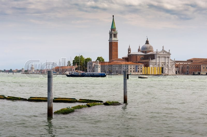 Stock image of 'VENICE, ITALY - 26 JUNE, 2014: View of the Venetian Lagoon and the Church of San Giorgio Maggiore on island of the same name in Venice'