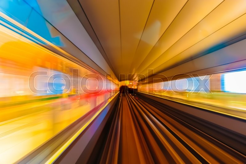 Stock image of 'Abstract background metro subway tracks blur'