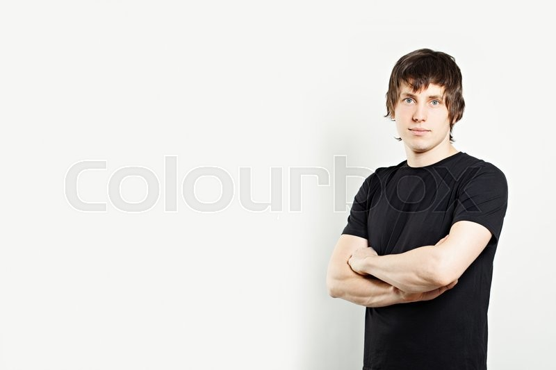 Stock image of 'Portrait of Man in Black T-Shirt'