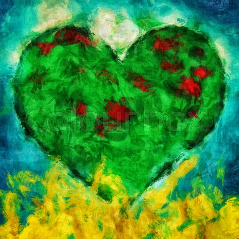 Stock image of 'Graphic illustration of a green heart with blue and golden background'