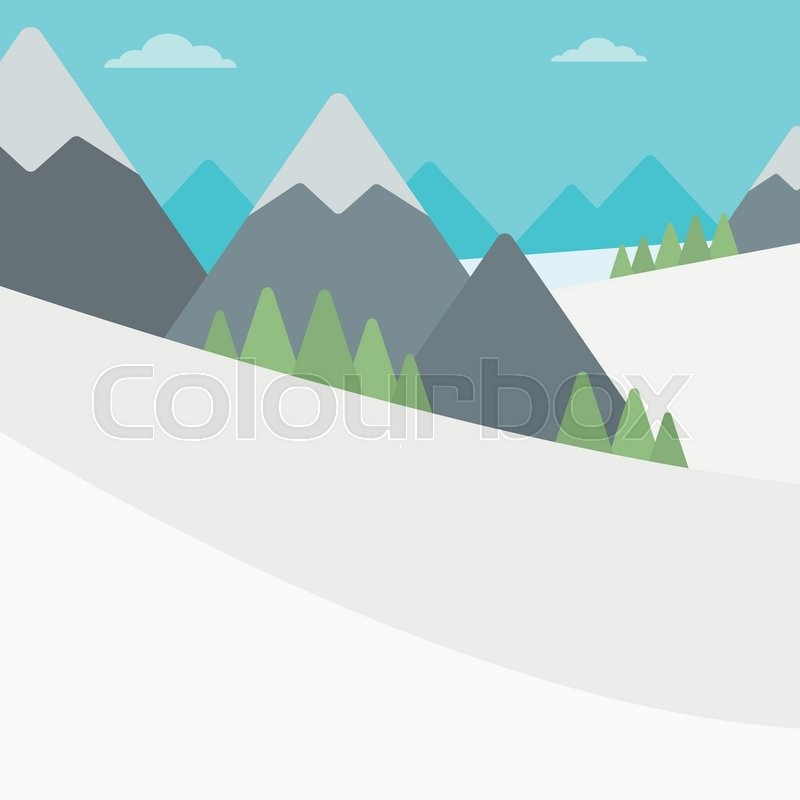 Background of snow capped mountain. Landscape with mountain peaks vector flat design illustration. Outdoors extreme sports concept. Square layout, vector