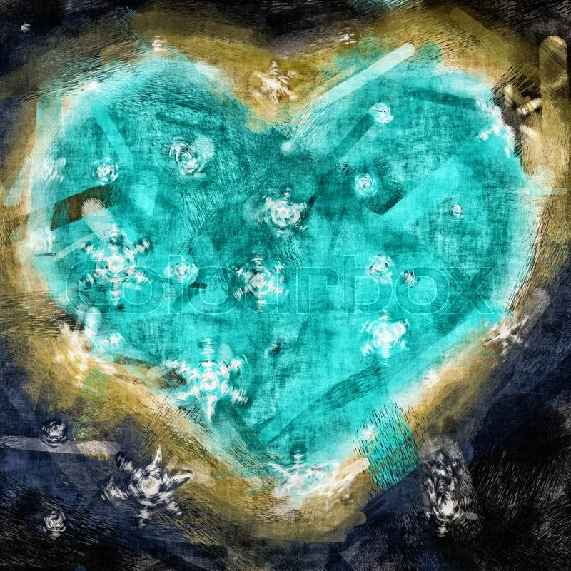 Stock image of 'Graphic illustration of a heart with snow flakes'