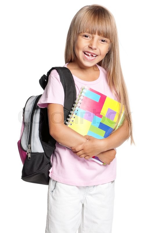 Stock image of 'Portrait of smiling schoolgirl with school bag and books, isolated on a white background'