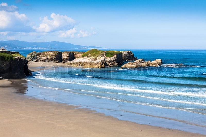 Stock image of 'Playa de las Catedrales - Beautiful beach in the north of Spain.'