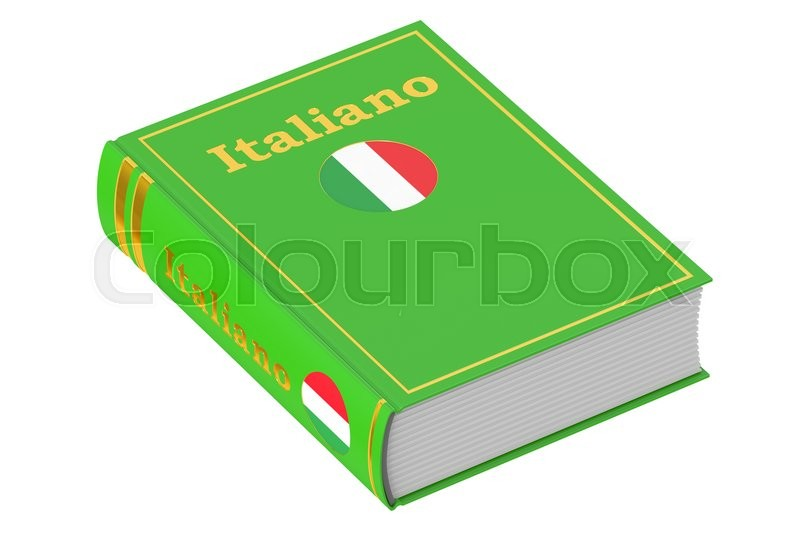 Stock image of 'Italian language textbook, 3D rendering isolated on white background'