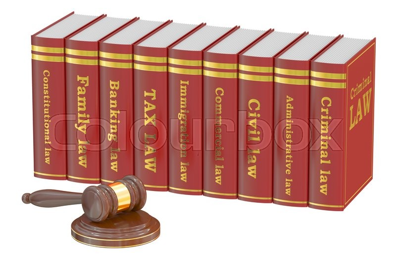 Stock image of 'Wooden Gavel and Law Books, 3D rendering isolated on white background'