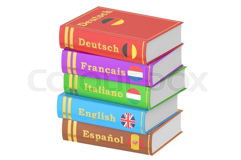 Stock image of 'Stack of Languages Books, 3D rendering isolated on white background'