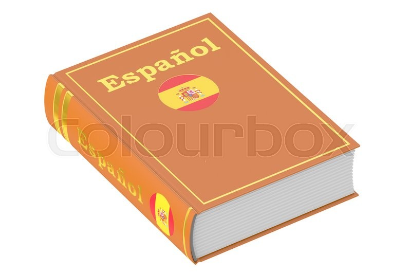 Stock image of 'Spanish language textbook, 3D rendering isolated on white background'