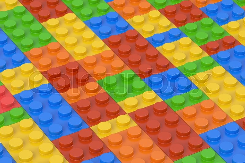 Stock image of 'Plastic building blocks background, 3D rendering'