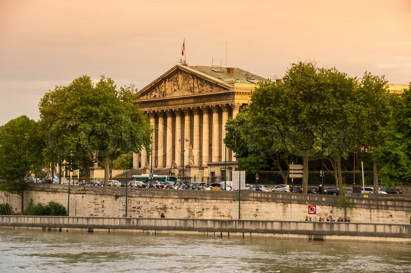 Stock image of 'The building of Assemblee Nationale (Palais Bourbon) - the French Parliament in Paris, France'