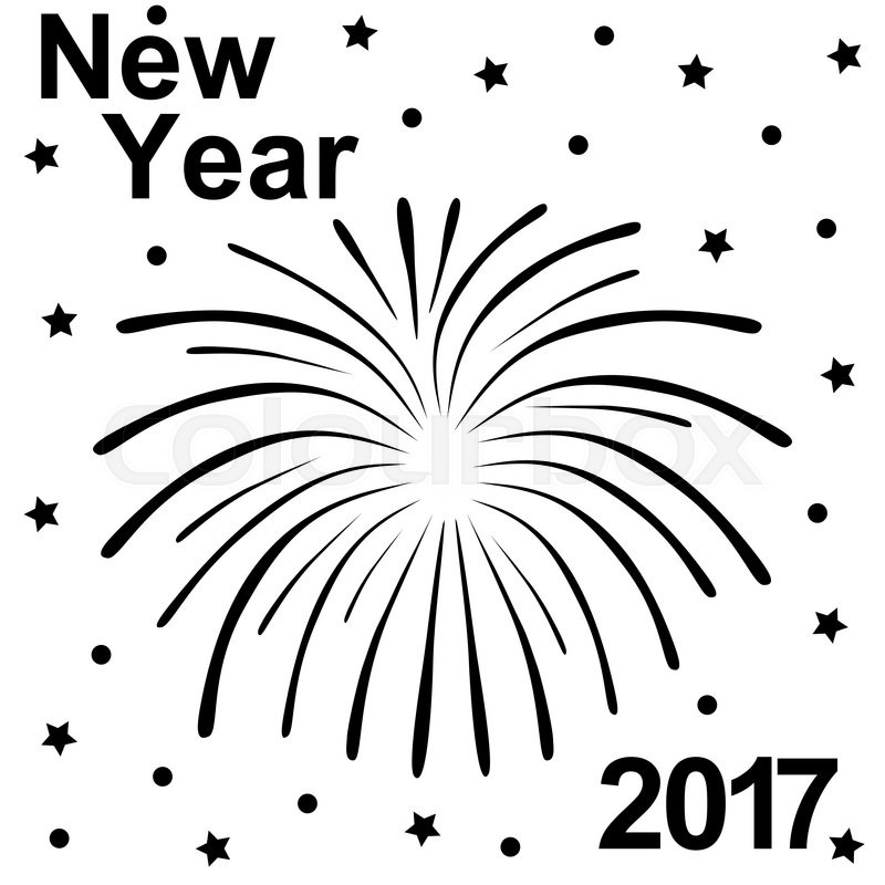 Happy New Year 2017 text and fireworks silhouette on a ...
