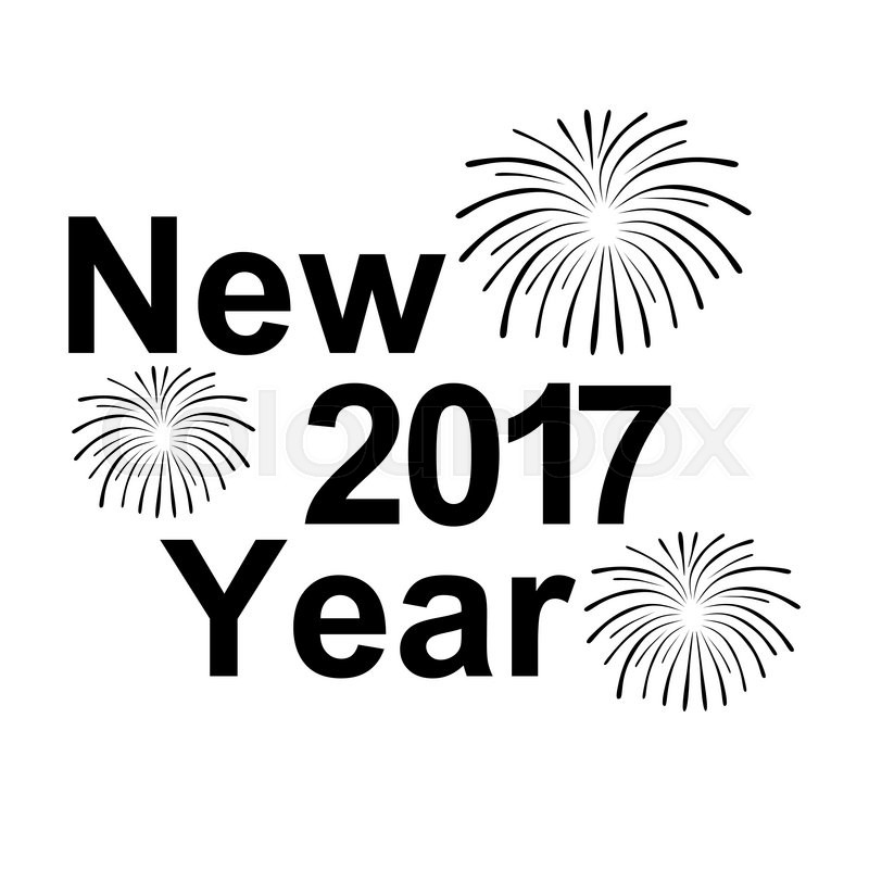 happy new year 2017 text and fireworks silhouette on a white background stock vector colourbox