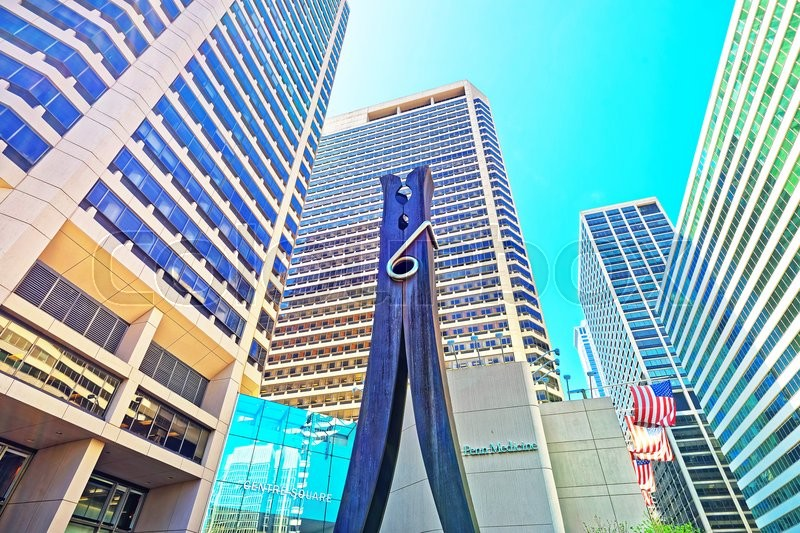 Editorial image of 'Philadelphia, USA - May 4, 2015: Clothespin sculpture at Skyscrapers in Philadelphia City Center. Pennsylvania, USA.'