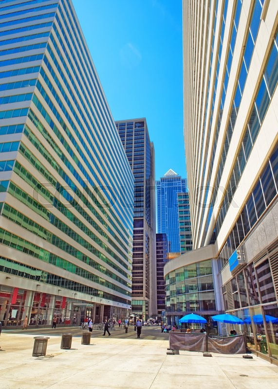 Stock image of 'Square in Penn Center and skyline with skyscrapers in Philadelphia, Pennsylvania, USA. It is a central business district in Philadelphia. Tourists on the square'