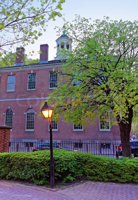 Stock image of 'Carpenters Hall in the Old City in Philadelphia, in Pennsylvania, the USA. It is a building for the Carpenters union meetings.'