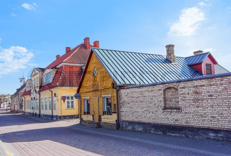 Stock image of 'Exterior of wooden houses in Ventspils of Latvia. It is a city in the Courland region of Latvia. Latvia is one of the Baltic countries'