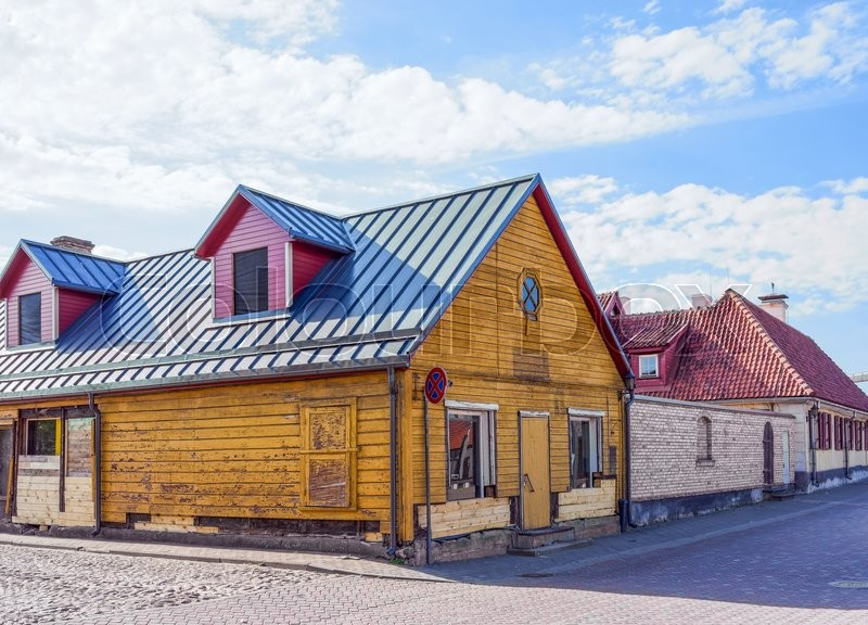 Stock image of 'Exterior of wooden houses in Ventspils in Latvia. It is a city in the Courland region of Latvia. Latvia is one of the Baltic countries'