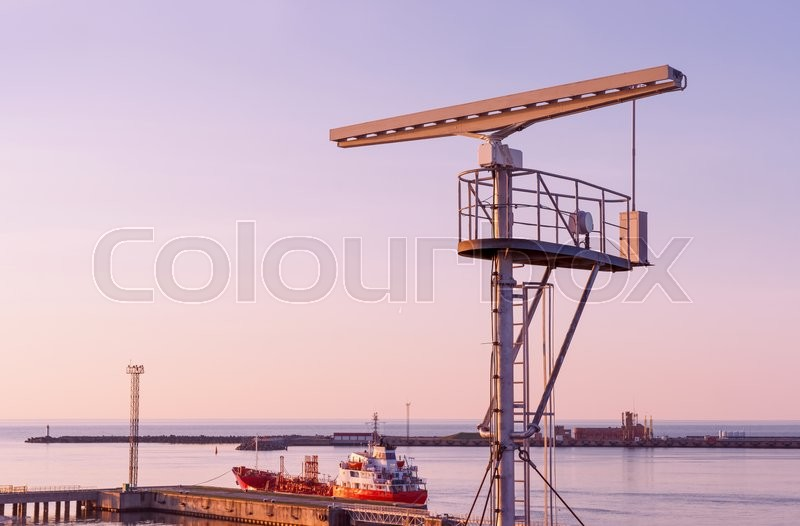 Stock image of 'Radio locator near the Viewing tower at the Southern Pier of Ventspils. Ventspils a city in the Courland region of Latvia. Latvia is one of the Baltic countries'
