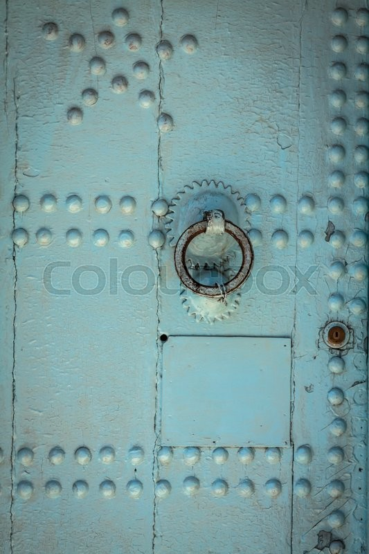 Stock image of 'Traditional moroccan door detail in Chefchaouen, Morocco, Africa'