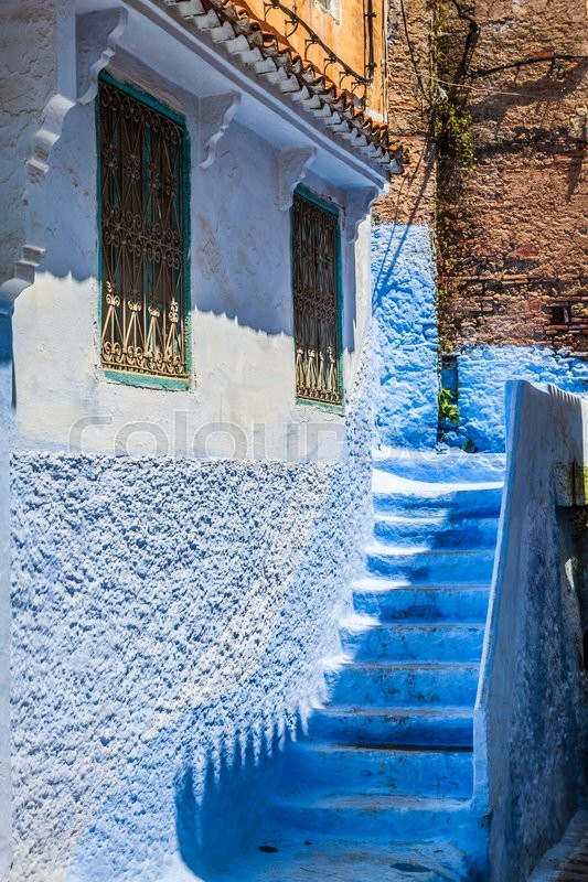 Stock image of 'Architectural detail in Chefchaouen, Morocco, Africa'