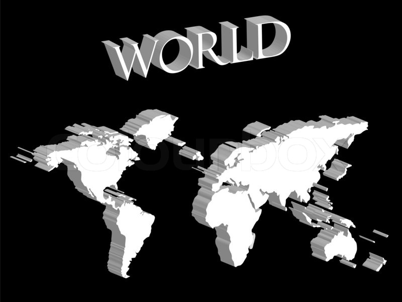 White world map expanded on black background abstract art white world map expanded on black background abstract art illustration stock photo colourbox gumiabroncs Image collections