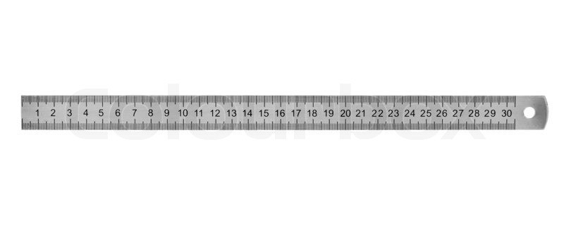 Metal ruler 30 cm isolated on white background stock for Garderobe 30 cm