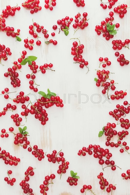 Stock image of 'Red currants background. Fresh red currant on white wooden board. Overhead view, blank space'