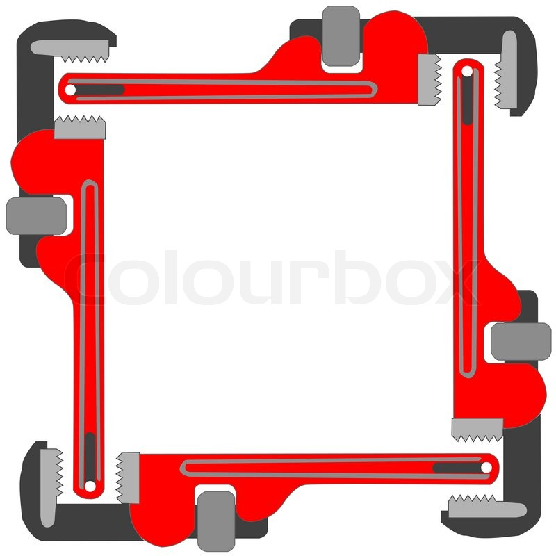Pipe wrench photo frame, art illustration; more photo frames in my ...